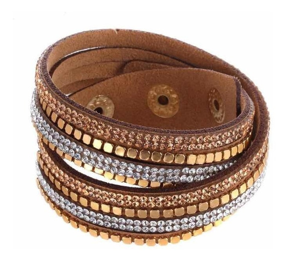 Pulseira Bracelete Feminino Luxo Couro E Strass Blogueira
