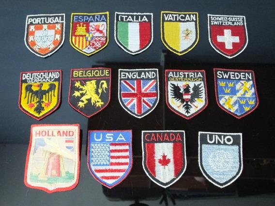 Coleção Patch Bordado Lote Com 14 Bandeiras Paises