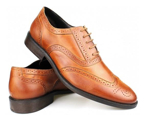 Sapato Casual Oxford Couro Brogue Tan - Perlatto