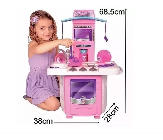 Mini Cozinha Classic Infantil Armário Pia Fogão Rosa 3 Anos