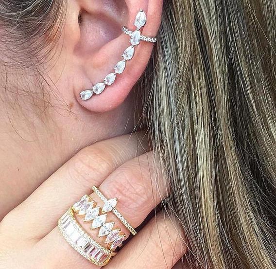 Brinco Ear Cuff Dourado Semi Joia Folheada Ouro 18k