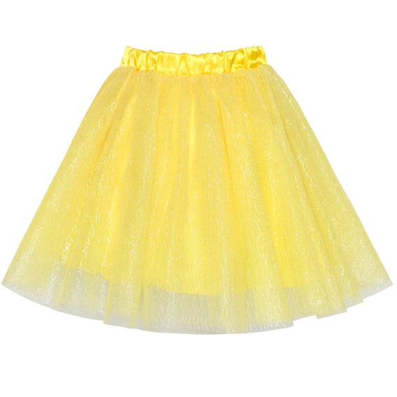 Saia Infantil Tutu Amarelo Em 3 Camadas Bailarina Festa