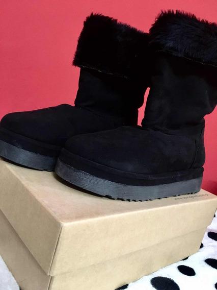 Botas Con Peluche ( Color Negro )