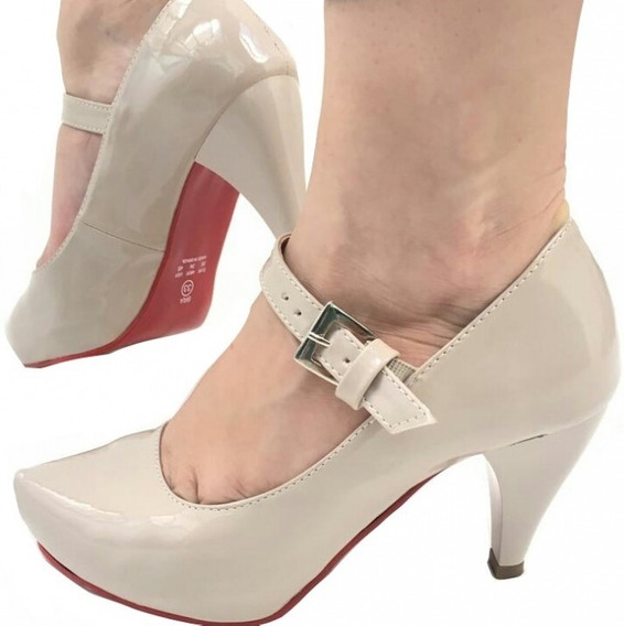 Sapato Scarpin Meia Pata Salto Baixo Médio Boneca Tira Gelo
