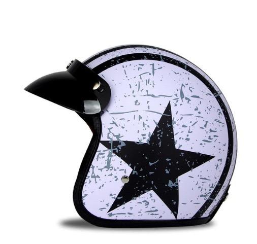 Capacete Moto Vintage Star Matte: Forro Removível + Aba