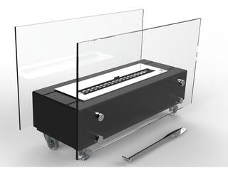 Lareira Ecológica Grápia Preta 80cm Queimador Inox 60cm