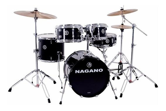 Bateria Acústica Compacta Nagano Garage Gig Bumbo 18 Preta