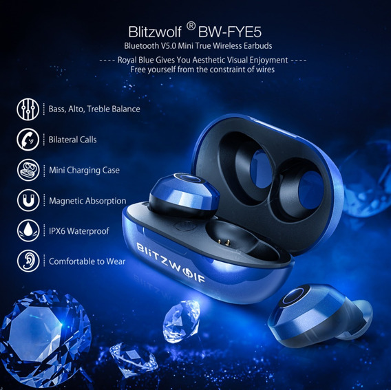 Fone Bluetooth 5.0 Blitzwolf Bw-fye5 Stereo Headphone