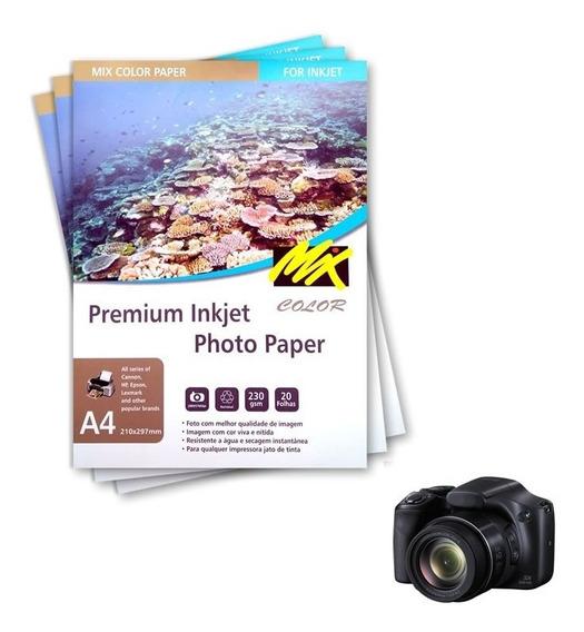 Papel Fotográfico A4 230g Glossy Com 200 Folhas Mixcolor