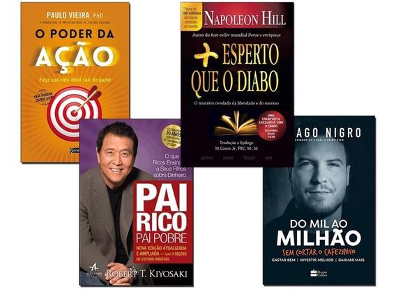 Livro Pai Rico Pai Pobre+ Mil Ao Milhão+ Poder Ação+ 1 Livro