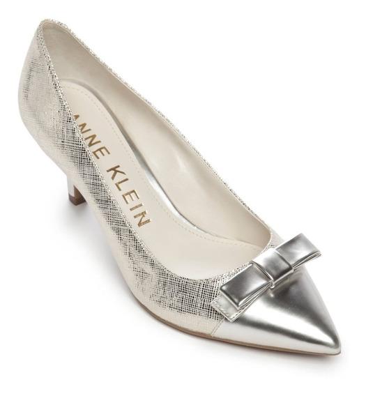 Anne Klein Zapatillas Mujer Tacones Moño Elegantes Plateados
