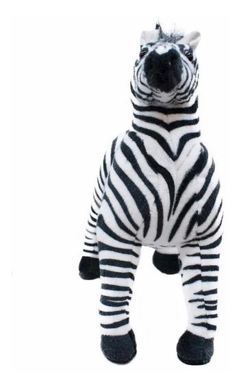 Zebra Realista Em Pé 42cm - Pelúcia