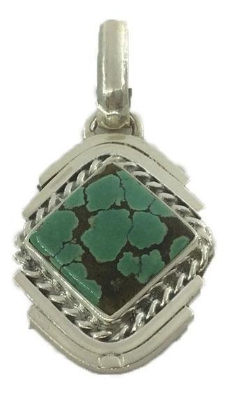 Dije De Plata Ley 925 Con Piedra Preciosa Turquesa D15