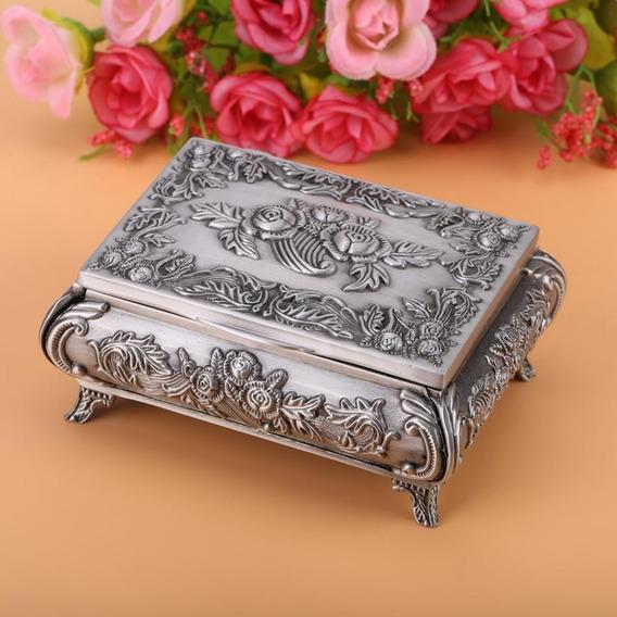 Joyero Estilo Vintage Rose Flor Tallada Aleación De Zinc