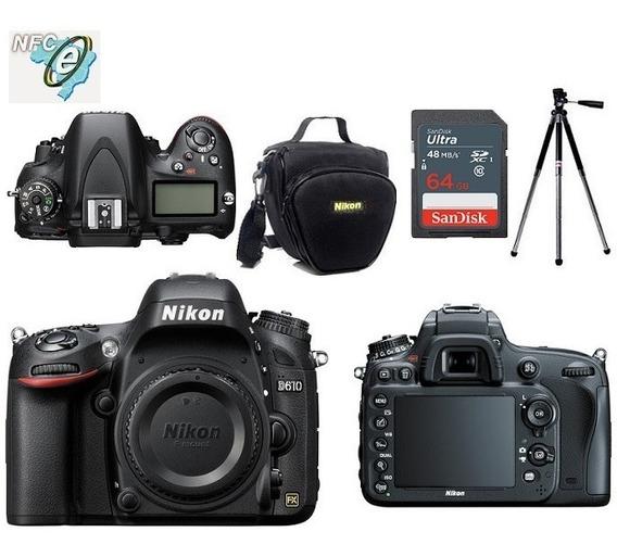 Nikon D610 Corpo Full Frame + Bolsa+tripé+64gb Nota Fiscal