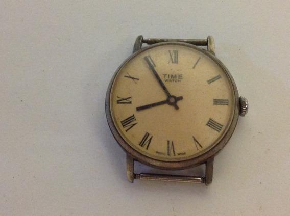Relógio De Pulso Marca Time Watch A Corda Parado