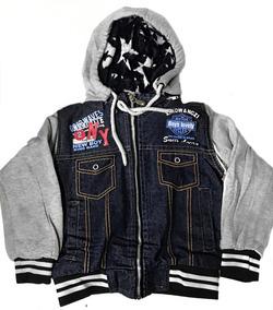 feda67f0837 Jaqueta Jeans Infantil Com Mangas Moletom Forrada Menino
