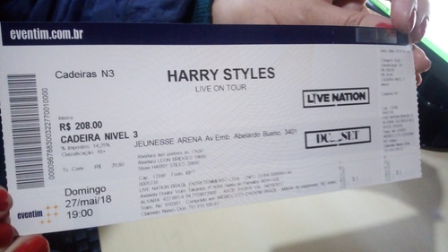 Ingressos Show Harry Styles  27/05/18 Cadeira3