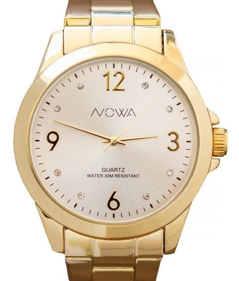 Relógio Nowa Feminino Dourado Original Nw1026k+brinde+frete