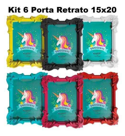 6 Porta Retrato Moldura Retrô 15x20 Colorido Decoração Foto