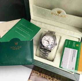 Rolex Prata Branco Daydate Com Caixa E Documentos