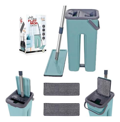 Imagem 1 de 6 de Rodo Mop Flat E Balde Para Limpeza De Piso + 1 Refil Brinde