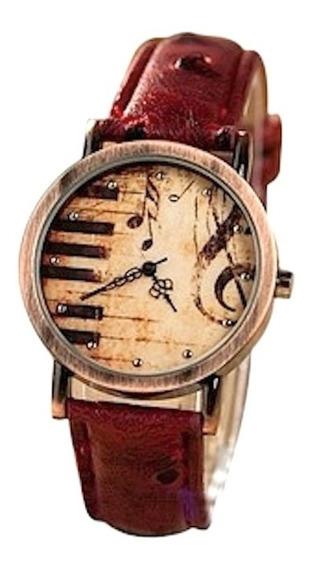 Relógio Musical Piano Pulseira Em Couro De Avestruz Promoção