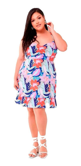 Vestido Plus Size Floral Ruched Cami Dress Falda Volado 3x
