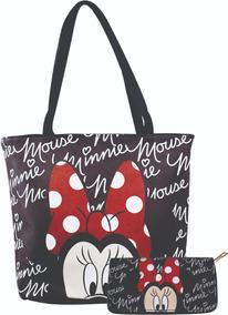 Conjunto Bolsa + Carteira Disney Mickey Minnie + Brinde