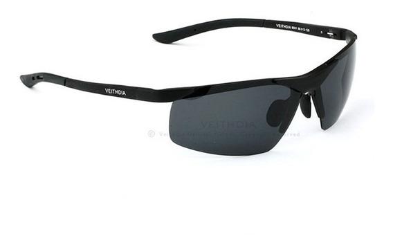 Óculos De Sol Masculino Original Esportivo Preto Polarizado