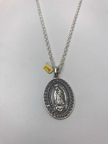 Virgen Guadalupe Con Cadena Turbillon 50cm. Plata 925. Tuset