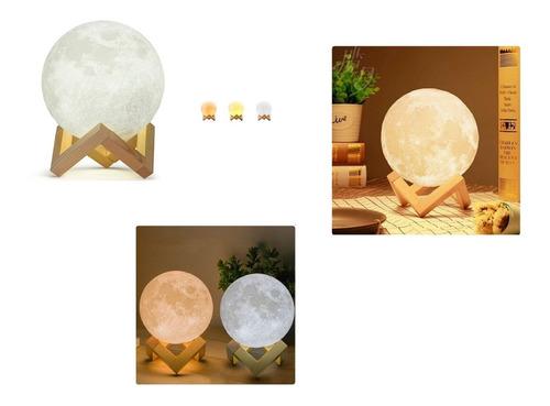 Lámpara Luna 12 Cm 3d Luz Led Colores + Base Madera + Obsequ