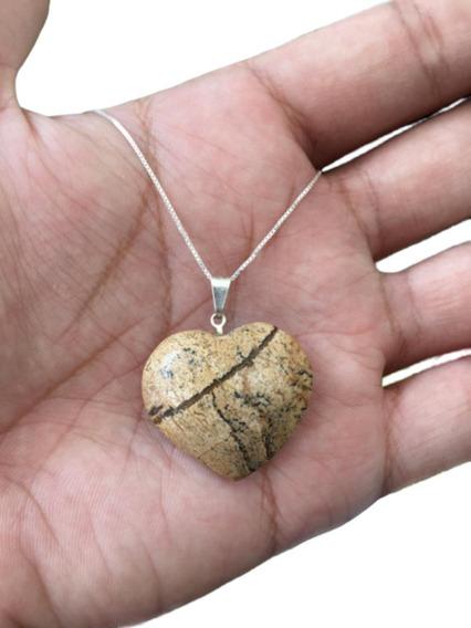 Cordão Colar Pingente Pedra Jaspe Prata 925 Cl49