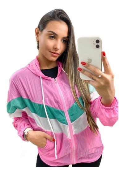 Jaqueta Feminina Corta Vento Com Capuz Casaco Blusa Tumblr Praia Esportes Importado