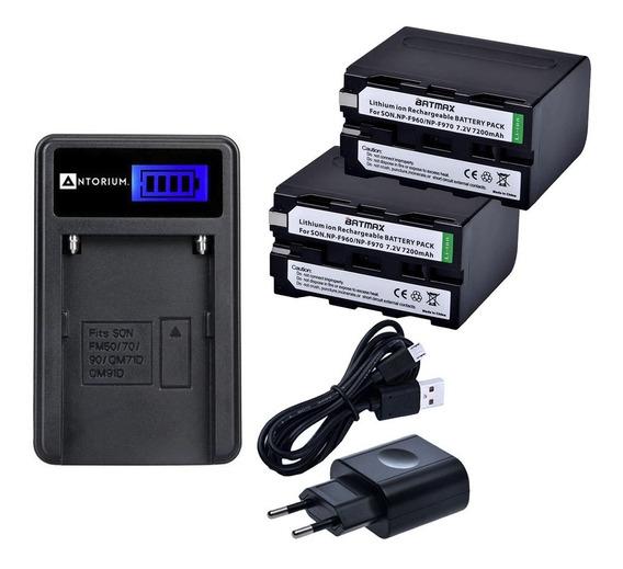 Carregador +2x Bateria Sony F970 7200 Np-f970 F750 Batmax