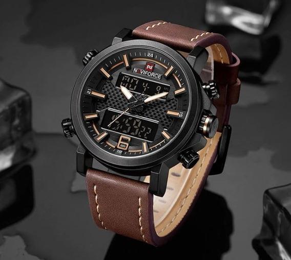 Relógio Naviforce Couro Militar - Nf9125