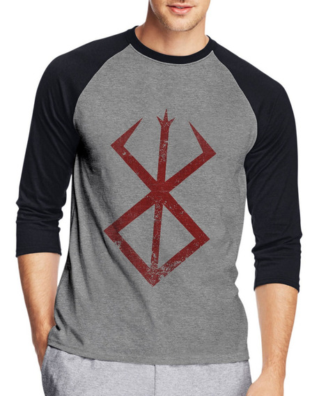 Camiseta Raglan Berserker Evil Mark Anime Três Quartos
