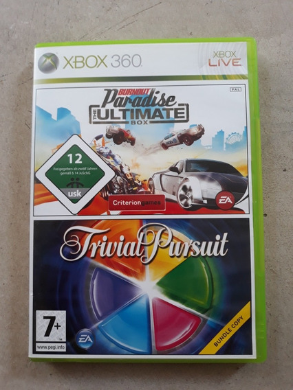 Jogo Bundle Xbox 360 Trivial Pursuit E Burnout Parafise Pal