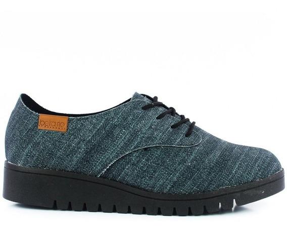 Sapato Oxford Preto Beira Rio Tratorado - Frete Grátis