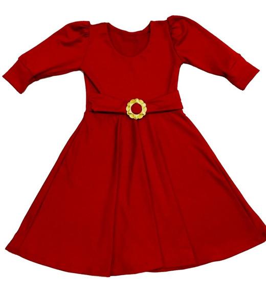 Vestido Infantil Rodado Manga Bufante 3/4 Cinto E Fivela