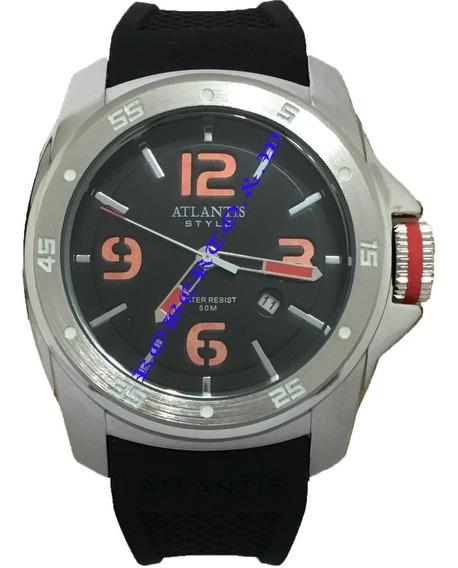 Relógio Masculino Atlantis Pulseira Borracha Frete Grátis