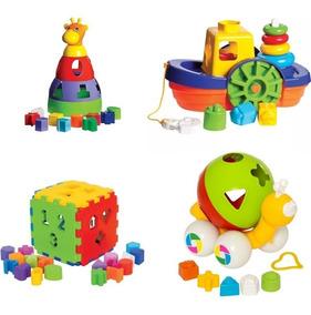 Kit 4 Brinquedos Educativos Cubo + Girafa + Caracol + Barco