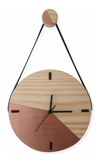Relógio De Parede Decorativo Moderno Madeira Com Alça Cobre
