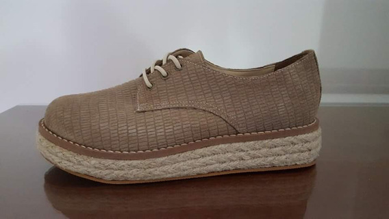 Zapato Acordonado Cuero Vison Y Yute