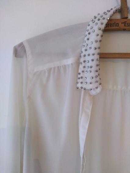 Camisa Mujer, De Seda, Apliques En El Cuello, Zara, Salta