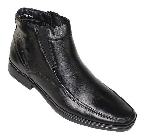 Bota Botin Casual Vestir Pazstor Negro Piel 4105