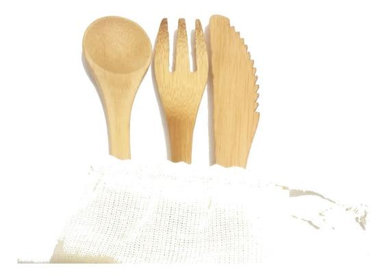 24 Kit De Cubiertos De Bambú Bamboo + Bolsa