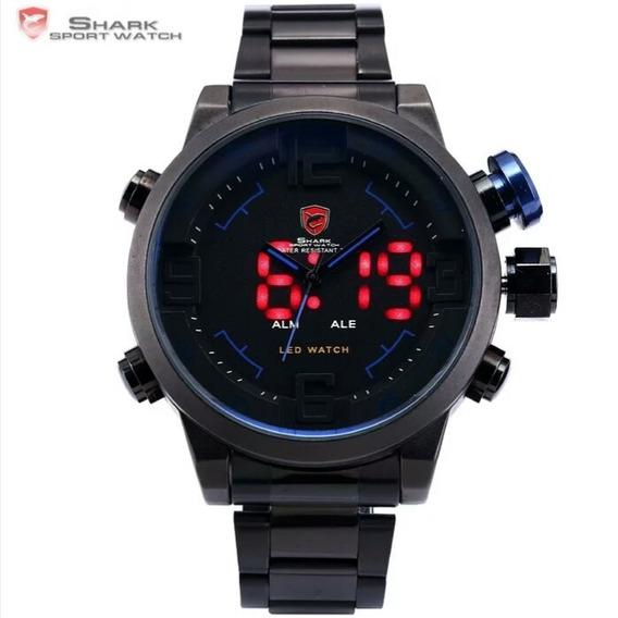 Relógio Shark Original Preto E Azul Led Vermelho