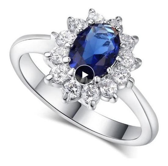Anel Feminino Inspirado Princesa Kate Azul Gema Criado Azul
