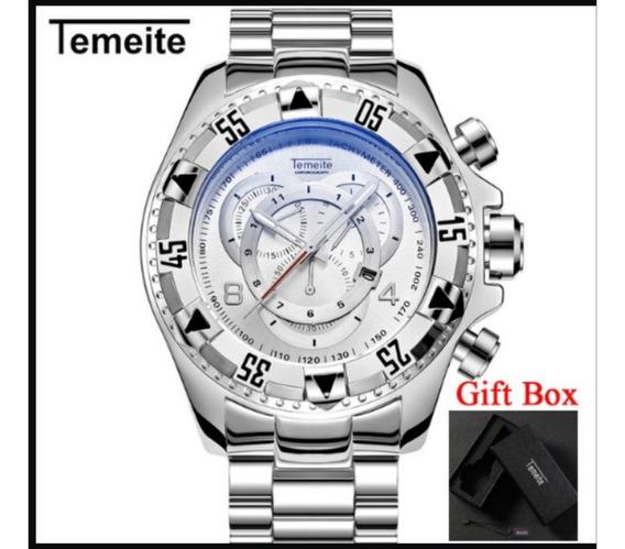 Relógio Masculino Temeite Dourado Azul Promoção 240g Monstro
